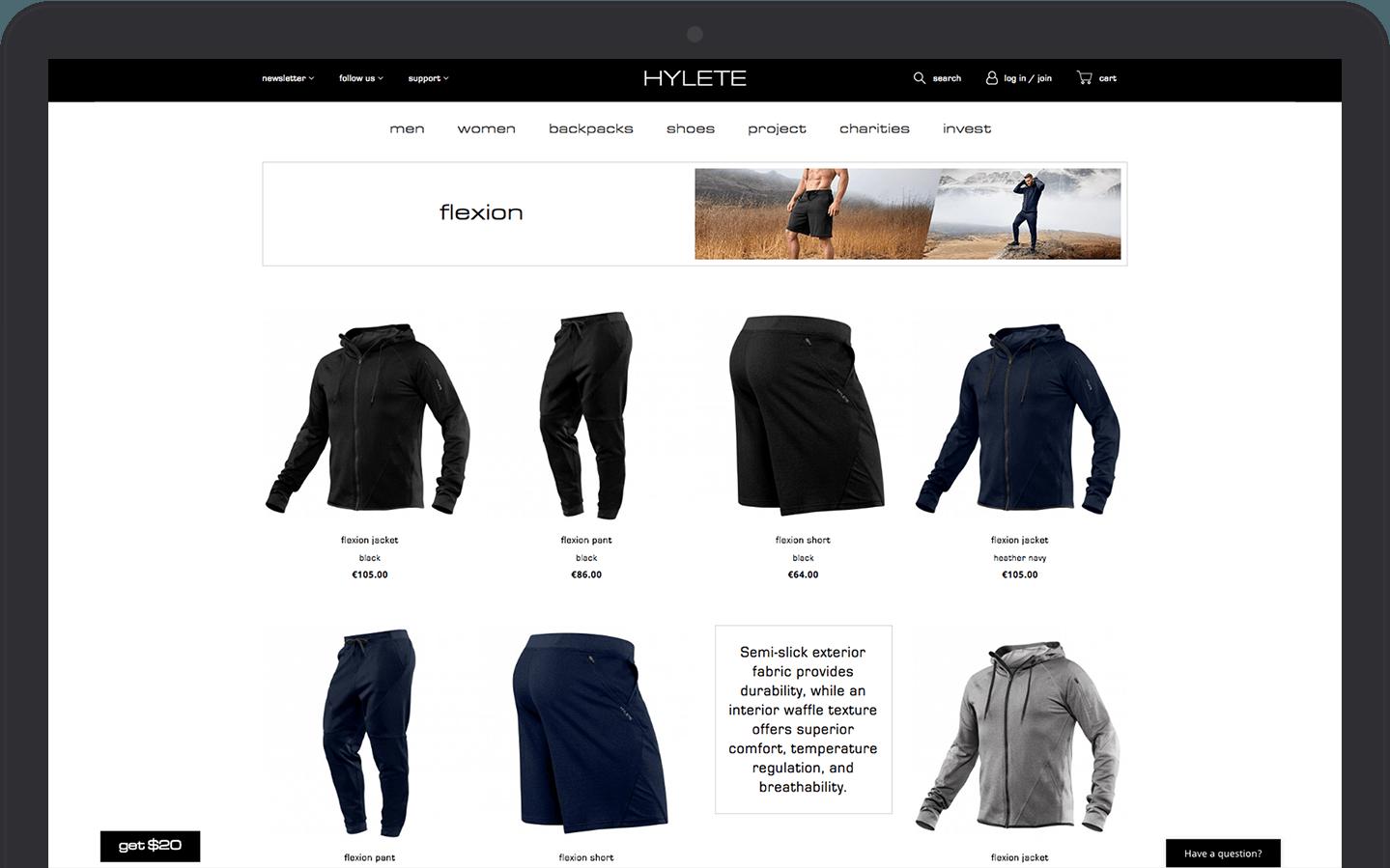 HYLETE eCommerce site