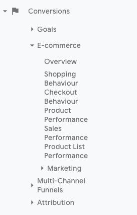 google analytics enhanced e-commerce drop down menu