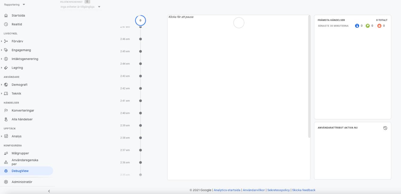 Google Analytics 4 (GA4) debugview