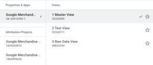 Google Universal Analytics (UA) views